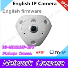 6MP Fisheye Camera,360 degree view angle, New English camera DS-2CD6362F-IVS,Network IP camera w/IR,HD IP Camera