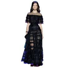 HIGH QUALITY New Fashion 2017 Runway Maxi Dress Women's Batwing Sleeve Black Lace Party Long Dress  size S-XXL