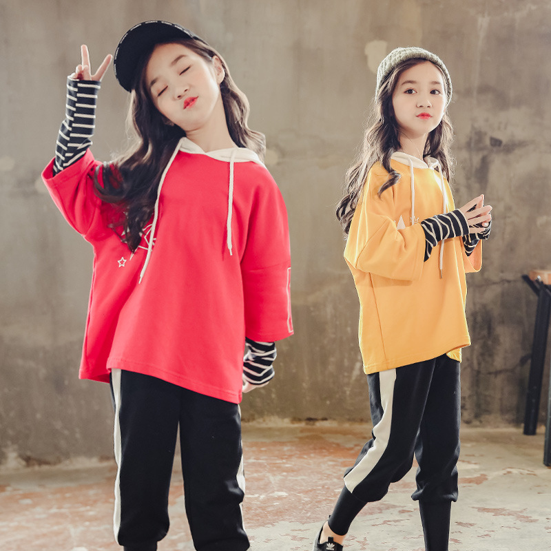 Clothes Set For Girls 2018 Fall Sports Suits Fashion Girl Boutique Outfit Sets Long Sleeve Hooded Sweatshirt + Pant 2pcs 9 10 12 baby boys clothes toddler kid long sleeve dinosaur hooded sweatshirt top long pant sportswear outfit 2pcs kids clothing sets