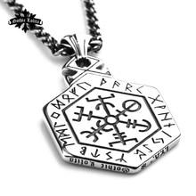 Nordic mythology Viking rune stainless steel necklace the sided pendant Kabala totem for  Men