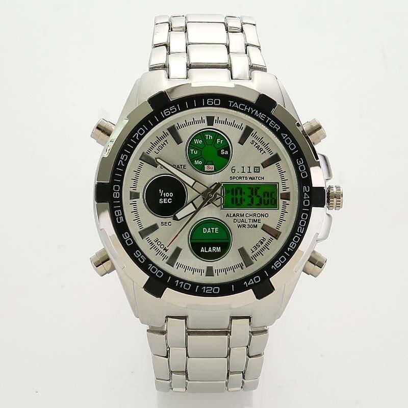 Dual-display-uhren Willensstark Männer Uhr Marke Led Digital Uhren Wasserdicht Edelstahl Casual Quarz Sport Militär Uhr Relogio Masculino Uhren