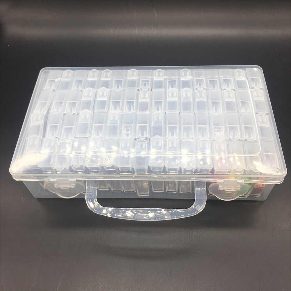 64/128/192/256 pcs acessórios Organizador Caixa De ferramentas de Plástico Transparente Strass Broca pintura diamante Mosaico Talão caixa de armazenamento