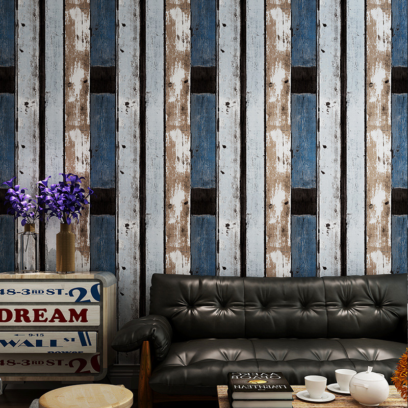 Vintage wallpaper industrial loft nostalgic imitation wood grain American personality fashion TV sofa background
