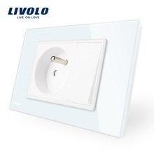 Производство Livolo один банды французский Мощность розетка с одним нажатием кнопки, белый Стекло Панель, AC 110 ~ 250 В 16a, vl-c9c1fr1k-11
