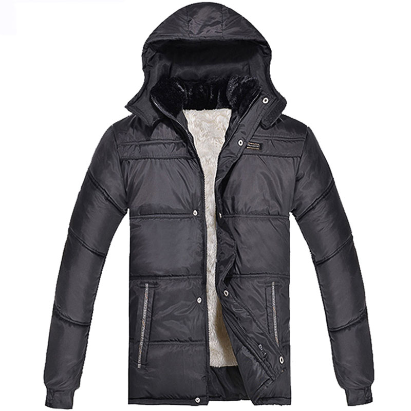 ФОТО CHARLIE ROBERT Men Fur Collar Winter Jacket Winter Mens Plus Velvet Jackets Hat Detachable Coat Men's Trench Coat Clothing
