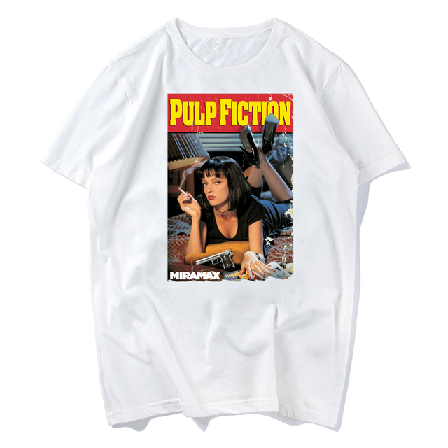 89bbb247 T Shirts PULP addiction Pulp Fiction Quentin Movie Mia Wallace Funny T- Shirts Man Round Neck Short Sleeve Clothing Classic xxxl