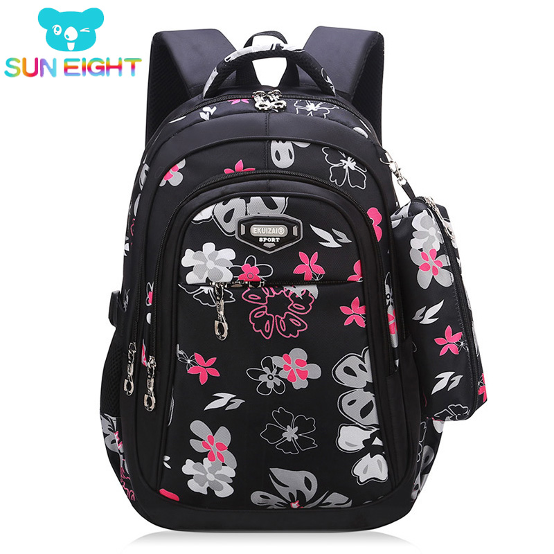 New Big Capacity Zipper Black/pink School Bags for Girls Brand Women Backpack Cheap Shoulder Bag Wholesale Kids Backpacks Floral canvas floral print backpacks shoulder bags for girls school bags black summer brand vintage backpack mochilas mujer d38j16