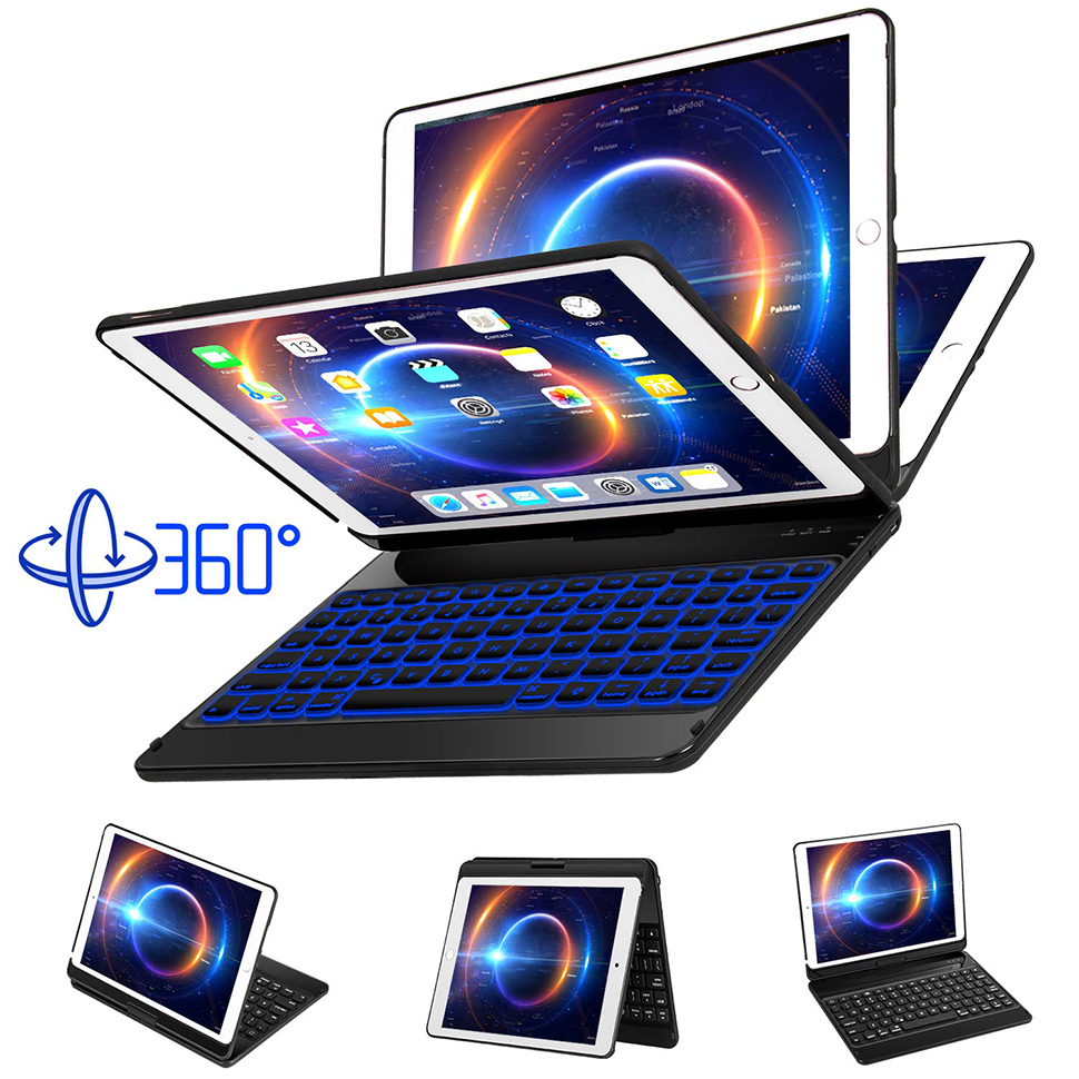 For iPad Pro 11 10.5 9.7 2018 2017 2016 Case Keyboard 360 Rotation 7 Color Backlit Bluetooth Keyboard Cover For iPad Pro Funda (5)