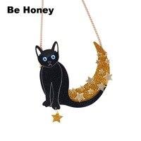 Moon star noir Mystique Chat Déclaration Collier
