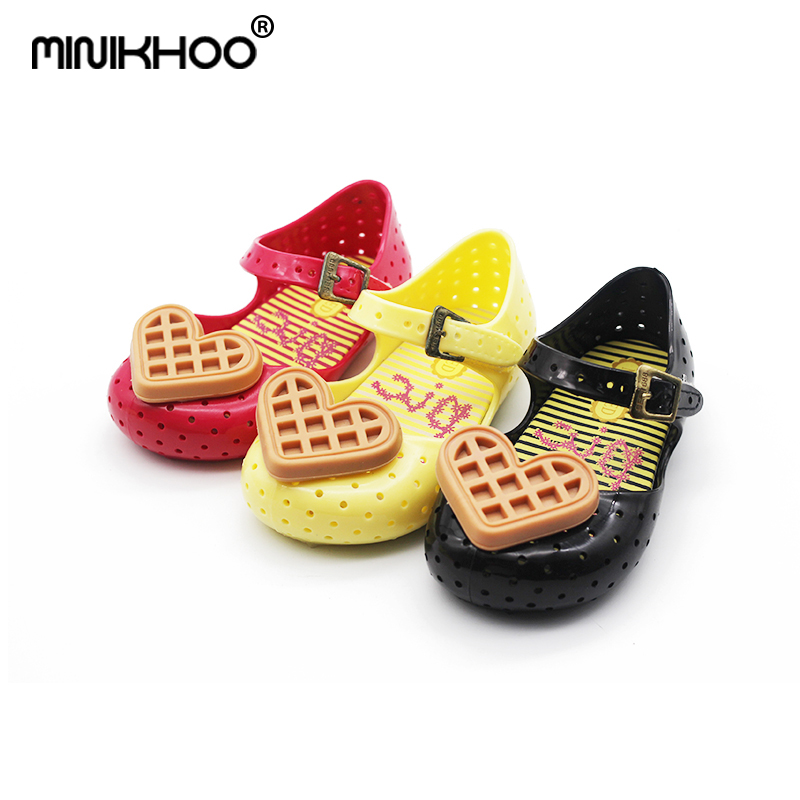 Mini Melissa 2018 Cute Girl Jelly Sandals Love Waffle Brazilian Children Shoes Girl Sandals For Baby Shoes Breathable Sandals