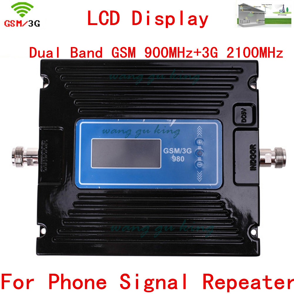 For Russia Device LCD Display 2G 3G GSM Repeater Amplifier , Cellular GSM Signal Booster 900mhz 2100mhz GSM Signal Repeater