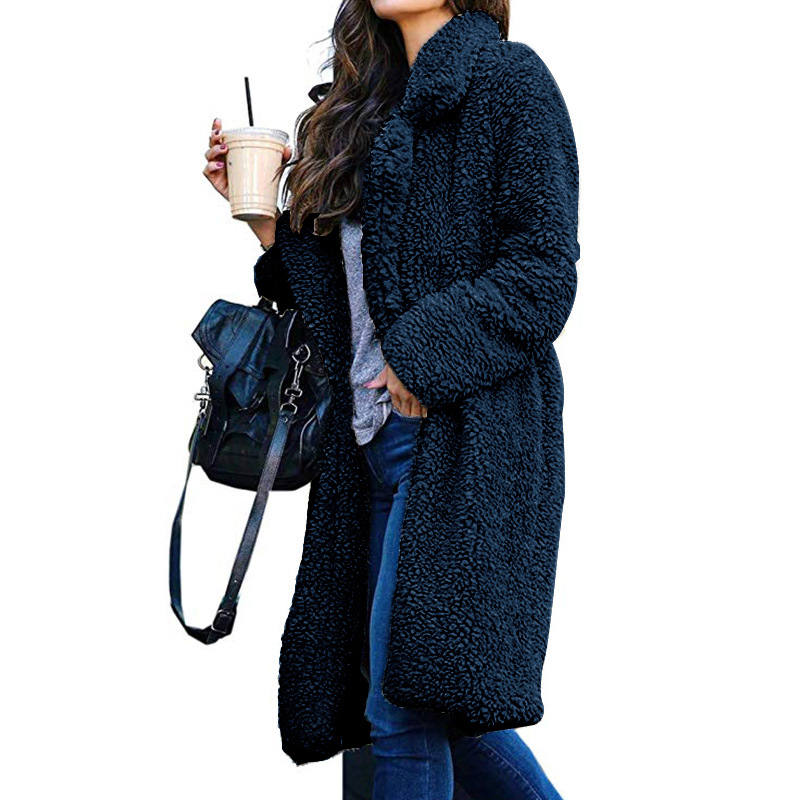 Long Coats Fleece Jackets Winter Warm Teddy Coat Cardigan Office Lady Sexy Women Wool Blends Full Tops Overcoats Plus Size 10