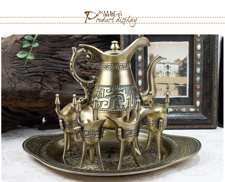 Creative Retro Luxury Bronze Copper  Snifters Goblet Hip Flask Tray Engraving Shot Cup teaware Figurines Gifts