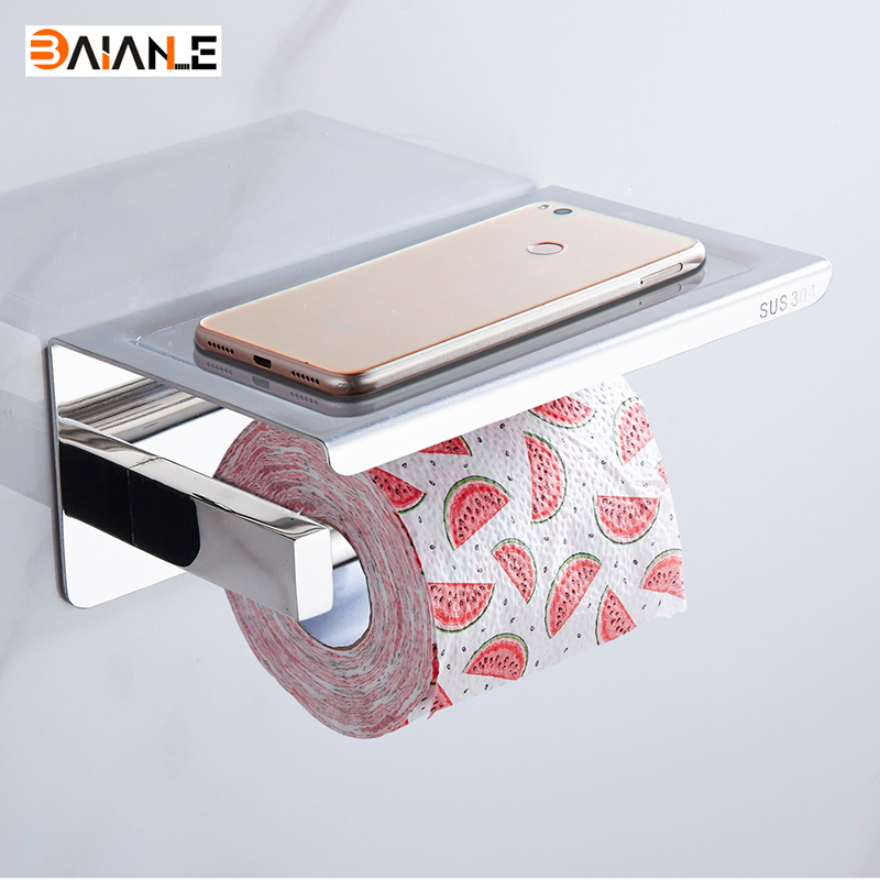 304 Stainless Steel Toilet Paper Holder With Shelf Wall Mounted Toilet Tissue Mobile Phone Roll Holder Bathroom Accessories new bathroom toilet tissue box wall mounted roll holder stainless steel bathroom accessories toilet paper holder cobbe t82603