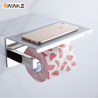 304 Stainless Steel Toilet Paper Holder With Shelf Wall Mounted Toilet Tissue Mobile Phone Roll Holder Bathroom Accessories