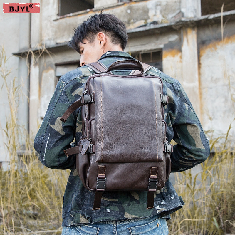 Oil wax leather mens backpack first layer cowhide large capacity computer bag leisure travel bag original mens backpackOil wax leather mens backpack first layer cowhide large capacity computer bag leisure travel bag original mens backpack