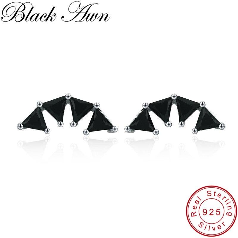 [Awn preto] 925 jóias de prata esterlina bonito triângulo casamento brincos para feminino bijoux boucles doreoreilles i056