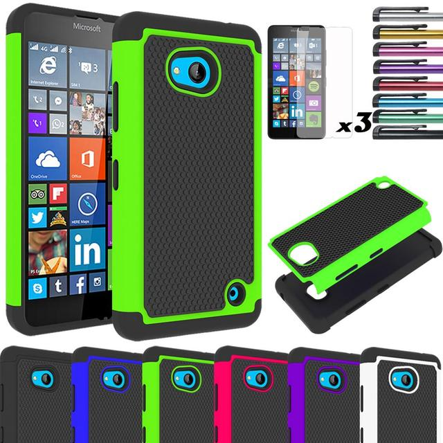 finest selection 7db3a 4a120 US $1.79 |For Microsoft Lumia 640 Case Armor Hybrid Silicone Rubber  Shockproof Impact Dual Layer Hard Cover With/Without Screen Protector-in  Fitted ...