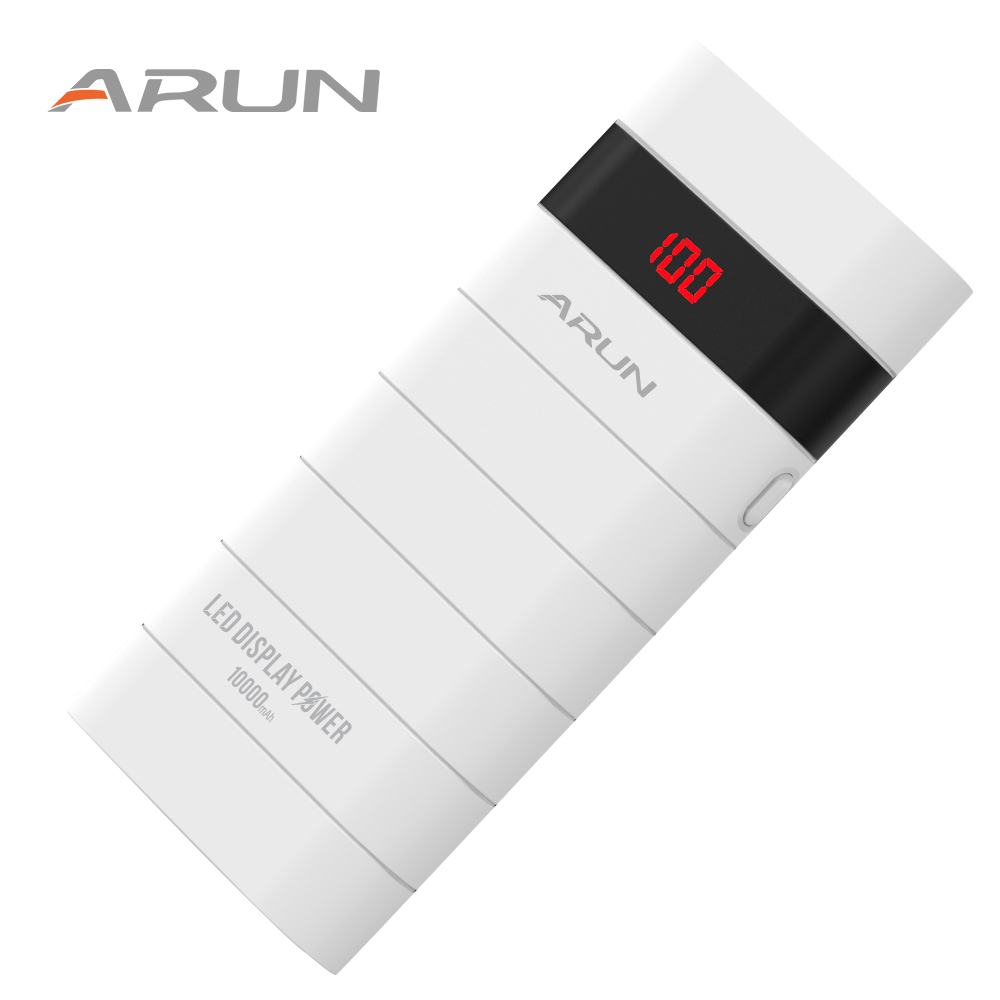 Arun 10000mah led display power bank usb charger external battery portable mobile phone charger for samsungs6