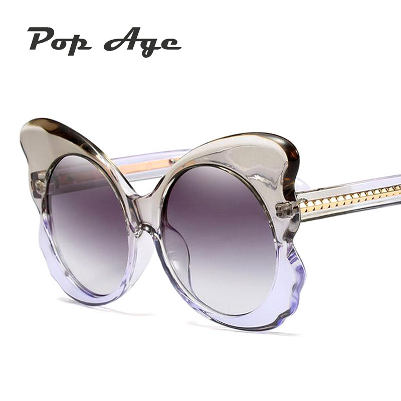 Pop Age New Fashion Plastic Butterfly font b Sunglasses b font Women Brand Designer Oversized Frame