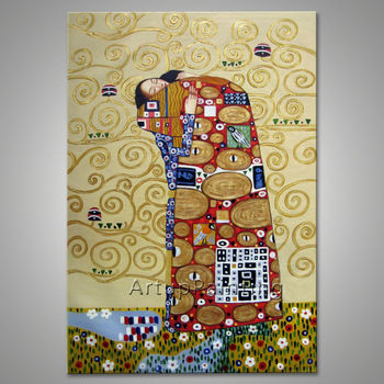 Gustav Klimt Oil painting on Canvas Hand painted The Kiss Paintings For Living Room Wall Art Canvas hand painted decoration art