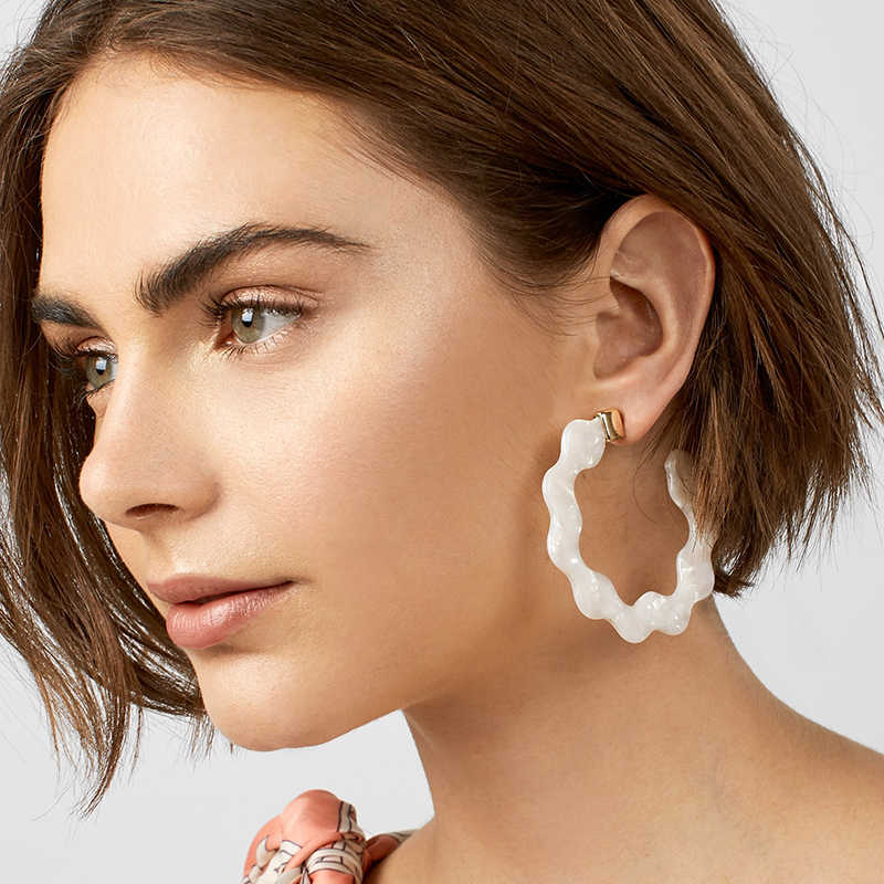 New Fashion Za Geometric Circle Drop Earrings For Women Simple Charm Leopard Print Resin Acrylic Statement Boho Bridal Jewelry