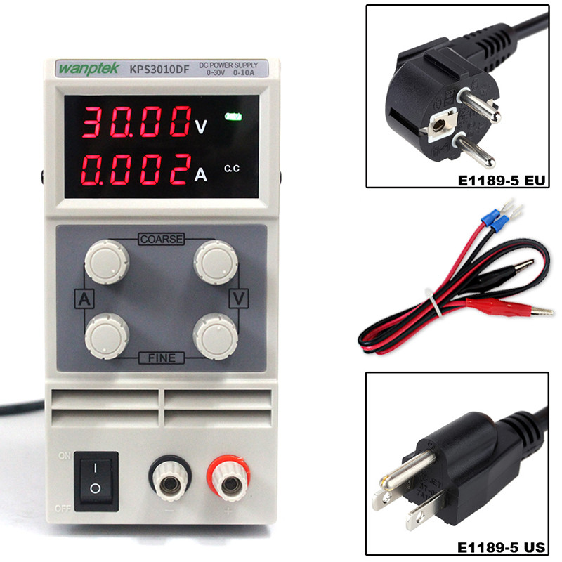 Wanptek KPS3010DF adjustable switching power supply 0-30V 0-10A 110V-220V 0.1V/0.001A DC Digital display repulated power supply original lw mini adjustable digital dc power supply 0 30v 0 10a 110v 220v switching power supply 0 01v 0 01a 34 pcs dc jack