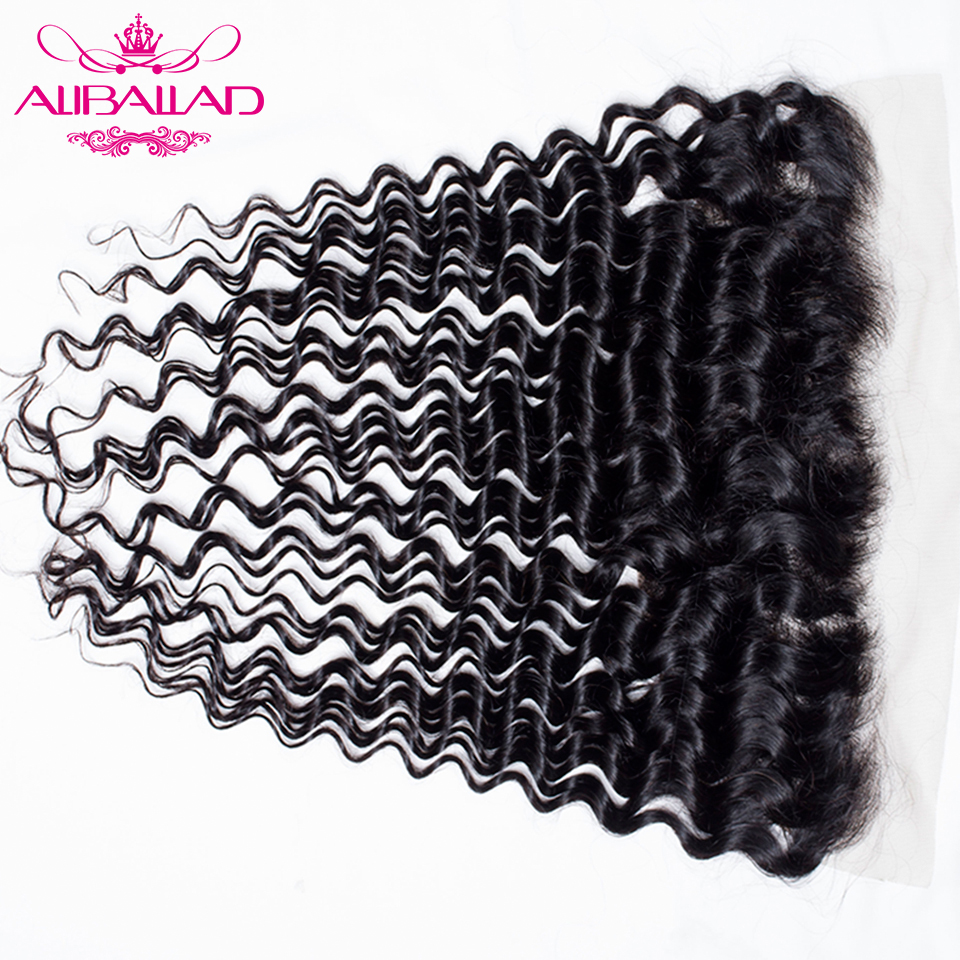 Aliballad Brazilian Deep Wave Frontal 100% Human Hair 13x4 Ear To Ear Swiss Lace Closure Free Part Natural Color Remy Hair
