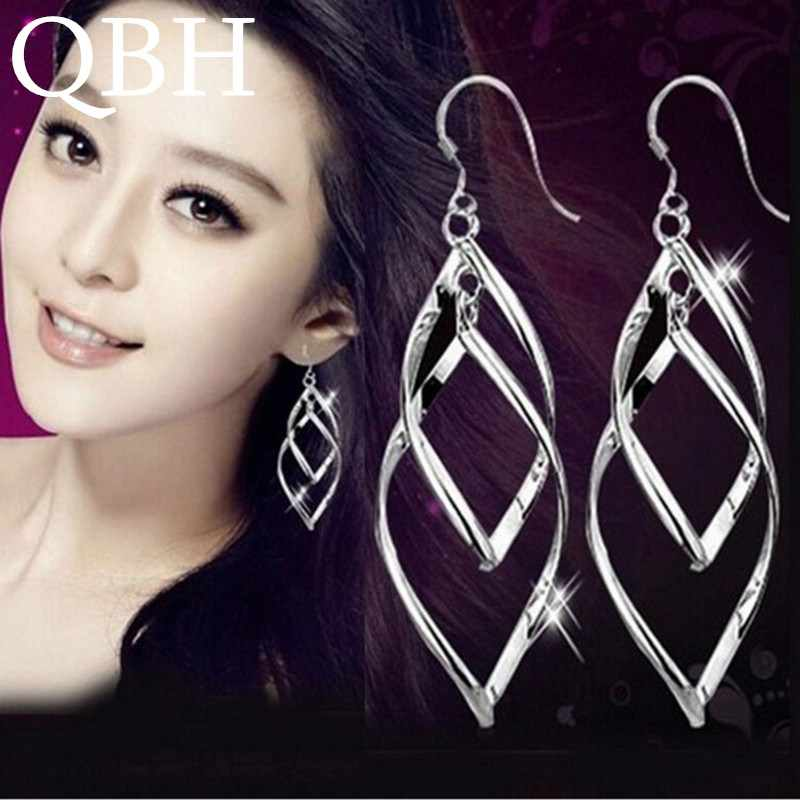 EK927 New Fashion Punk Brincos Twist Rhombus Hollow Leaf Big Dangle Earrings For Women Wedding Jewelry Mujer Boucle d'oreille