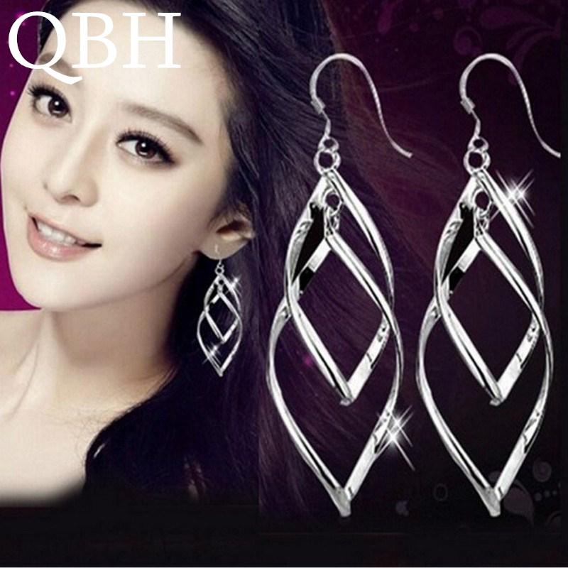 EK927 New Fashion Punk Brincos Twist Rhombus Hollow Leaf Big Dangle Earrings For Women Wedding Jewelry Mujer Boucle D'oreille