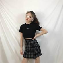 ELEXS Summer Skirt Women High Waist Plaid A-Line Skirt Casual Fashion Kawaii Student Skirts Shorts E2119