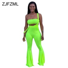 Neon Green Sexy Two Piece Tracksuit Women Strapless Crop Top + Spaghetti Strap Bell Bottom Overalls Plus Size Causal Outfits
