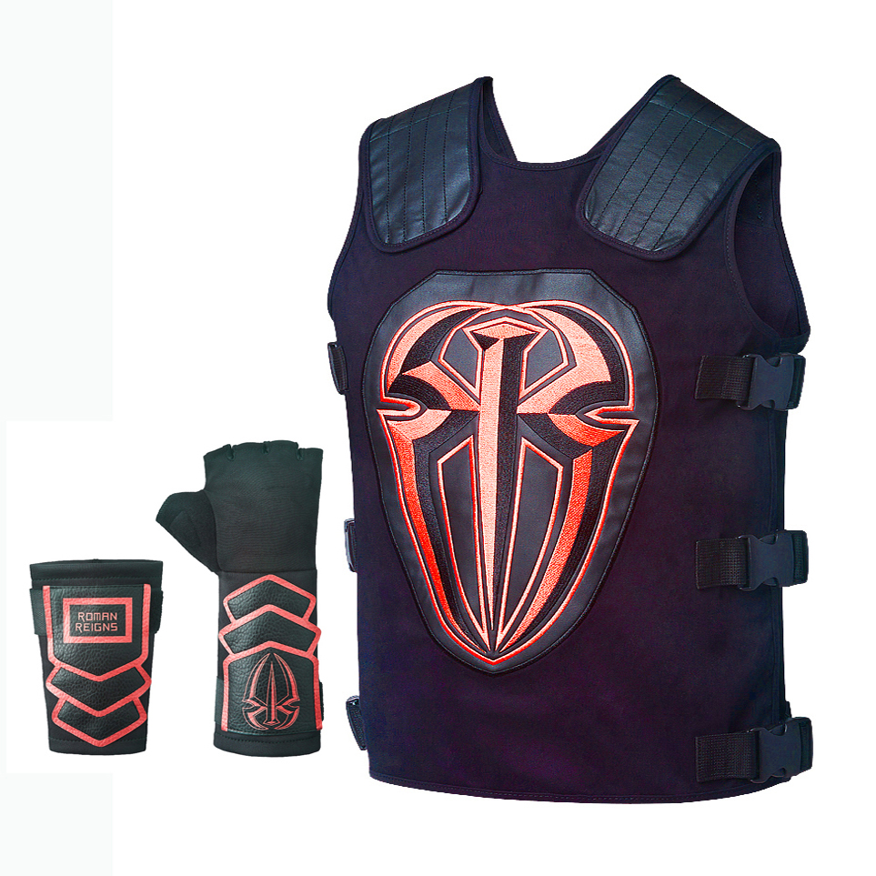 55edb92a34305 moto Gold   Silver   white   black   blue   red Roman Reigns Tactical Replica  Vest Superman Punch Glove Costume-in Theft Protection from Automobiles ...