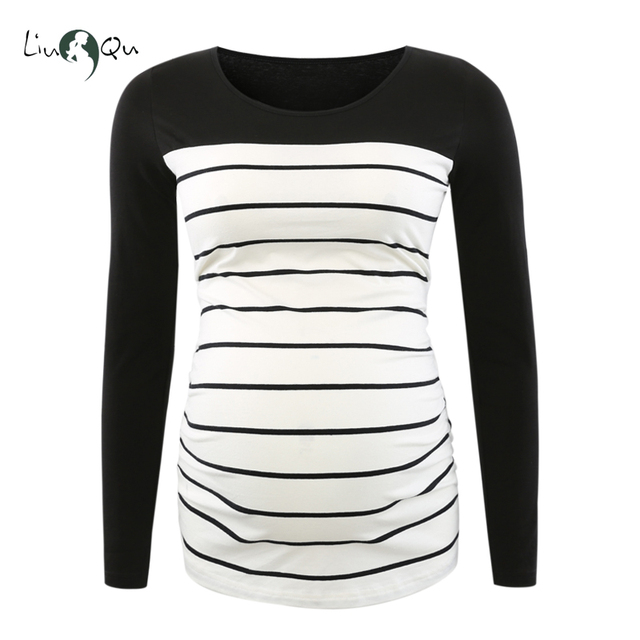 Long Sleeve Pregnancy Blouse Side Ruched Maternity Clothes Striped Patchwork Mama Top O neck Pregnant Clothes for Women Tops 1