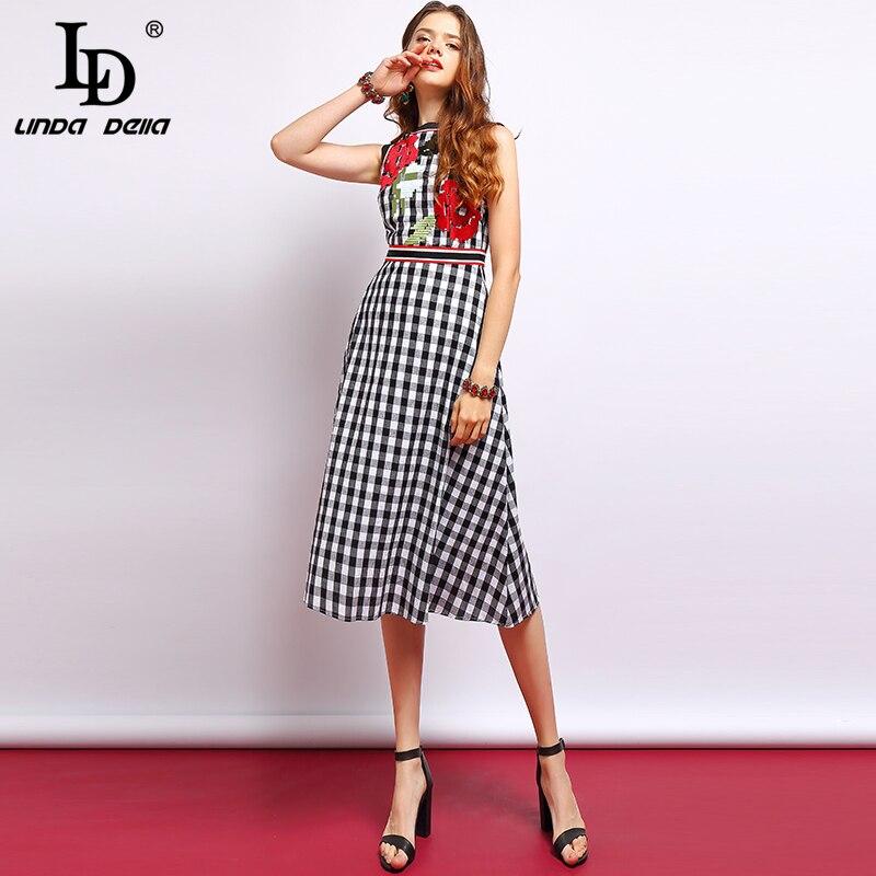 LD LINDA DELLA Fashion Runway Summer Dress Women s Sleeveless Floral Embroidered Plaid Print Vacation Elegant
