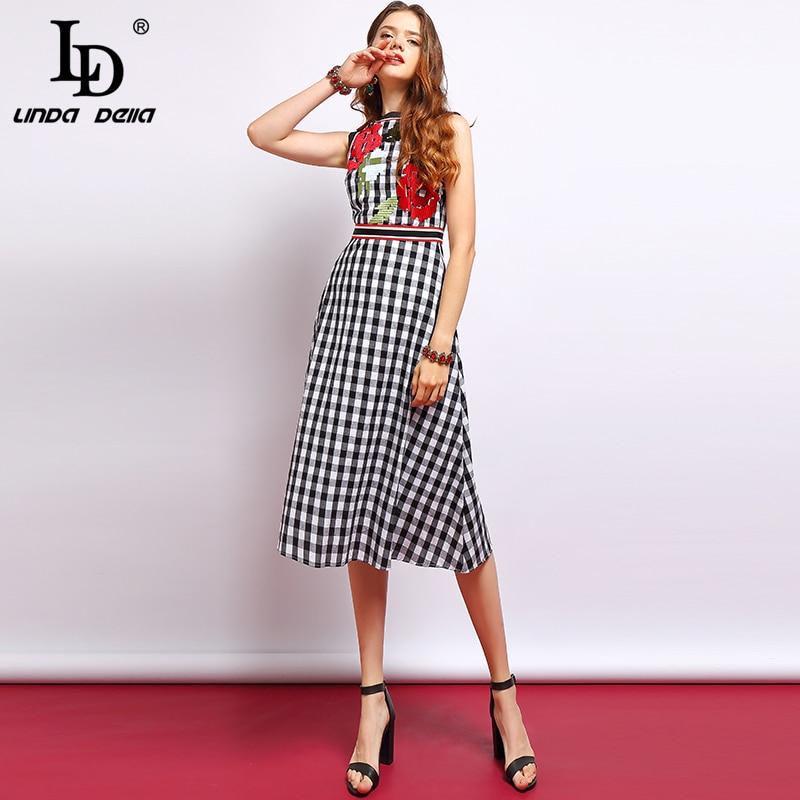 LD リンダ · デッラ · ファッション滑走路サマードレス女性のノースリーブ花刺繍チェック柄プリントでの休暇エレガントなヴィンテージドレス  グループ上の レディース衣服 からの ドレス の中 1