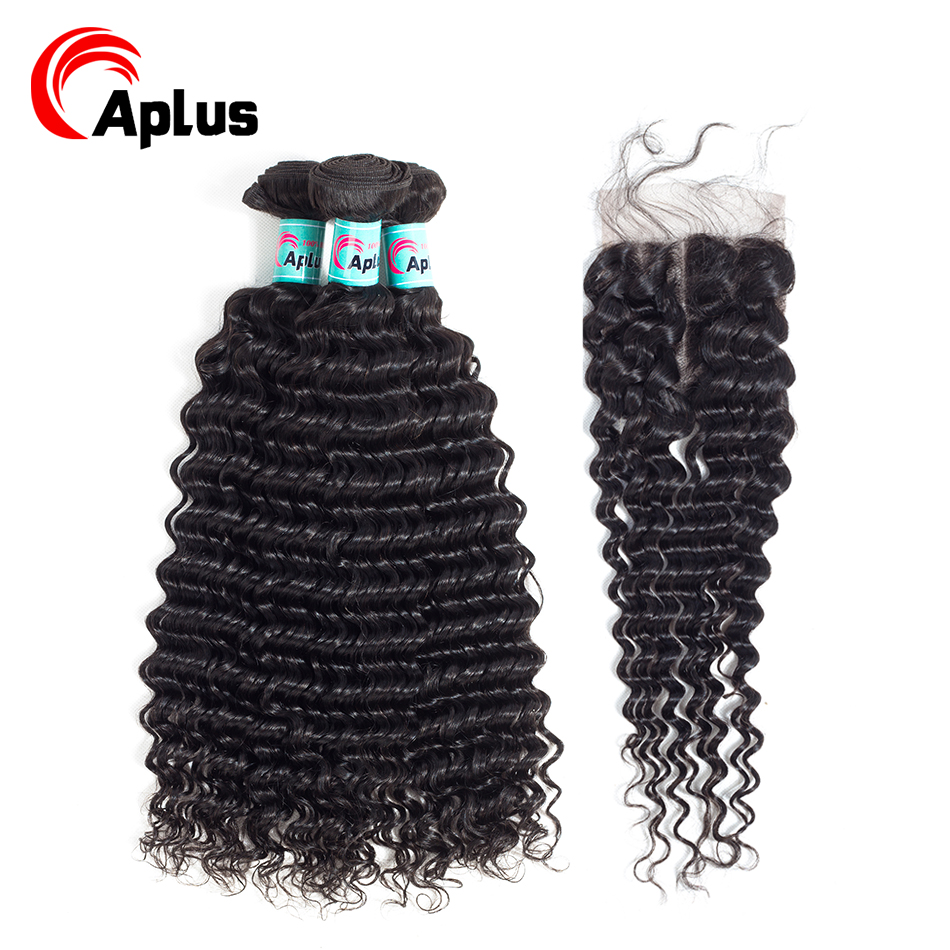 Aplus Pre-Colored Deep Wave Bundles With Closure Peruvian Hair Bundles With Closure With Baby Hair 4PCS/Lot