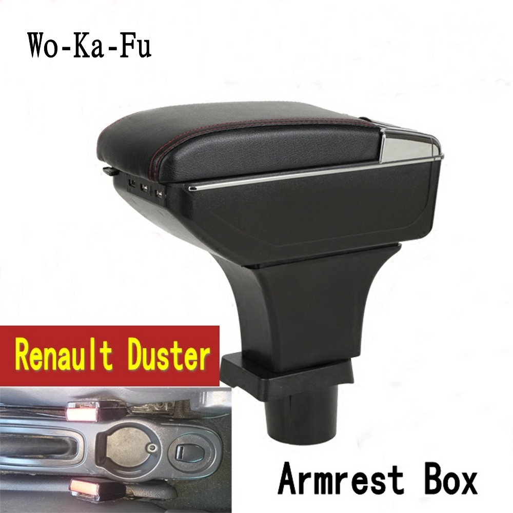 For Renault Duster armrest box central Store content box with cup holder ashtray USB interface Renault armrest box for chery tiggo 2 3x 2016 2017 2018 armrest box central store content box with cup holder ashtray decoration with usb interface
