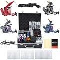 Acero al carbono Kits Completos Tatuaje 4 Ametralladoras fuente de Alimentación Aguja Grips Colorido Rebote Estable para el Artista Principiante