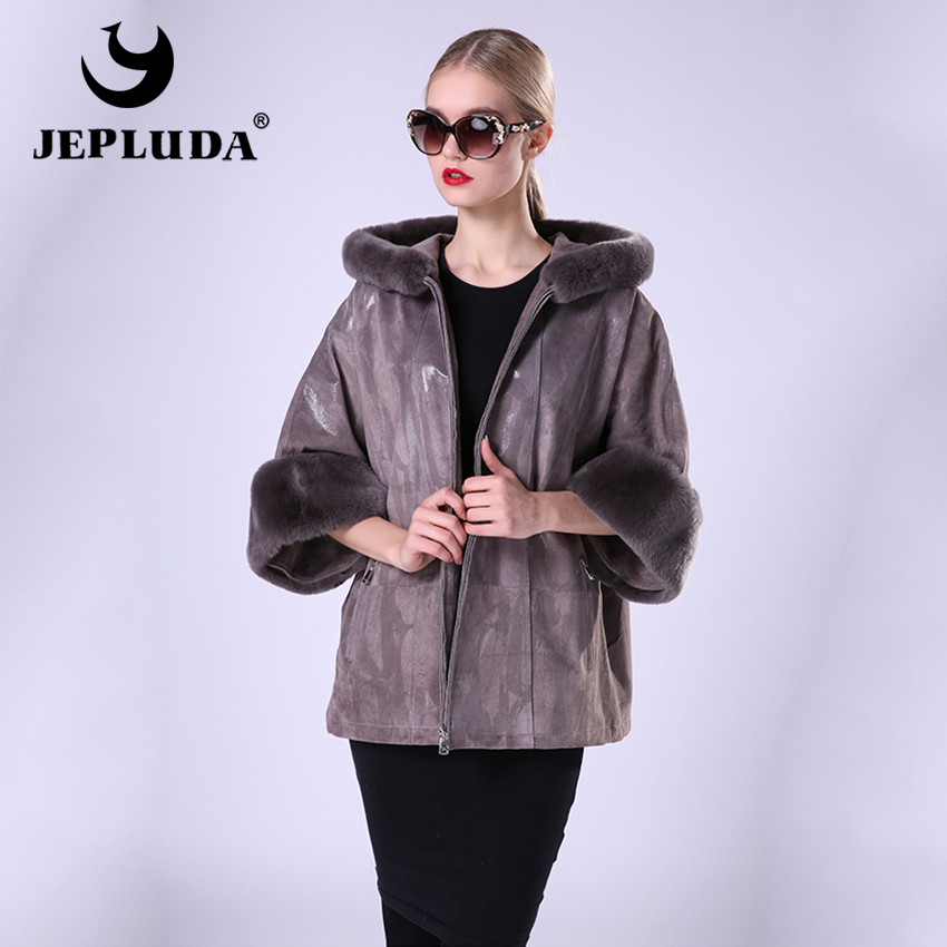 JEPLUDA New Fashion Womens Leather Coat With Hooded Leather Jacket Women Casual Loose Jacket With Rex Rabbit Fur Detachable