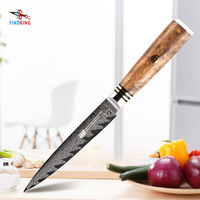 FINDKING AUS 10 damascus steel arrow pattern Sapele wood handle damascus knife 5 inch utility knife 67 layers fruit knives