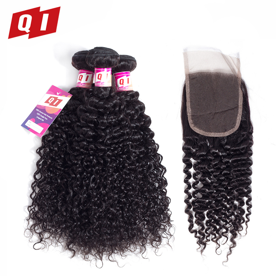 QI Hair 100 Natural Color Kinky Curly Human Hair Brazilian Hair Weave 3 Bundles With Lace