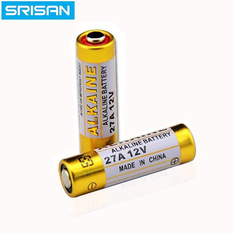 SRISAN 12 pièces 27A 12 V pile alcaline sèche L828 27AE 27MN A27 pour sonnette, alarme de voiture, baladeur, télécommande de voiture etc