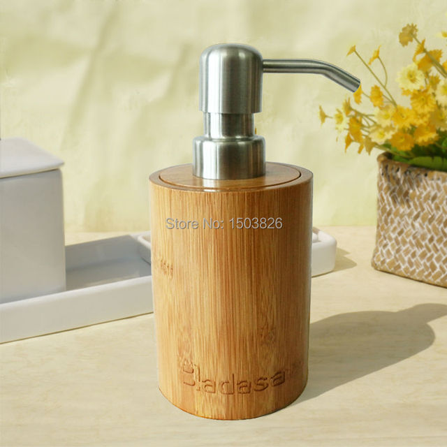 Badasa Natural Bamboo Soap Liquid Dispenser Bottle Hand Lotion