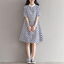 Women Plus size Clothing Autumn Casual Striped Bodycon Dress Striped Patchwork O-Neck Office Shirt Dresses Vestidos de festa