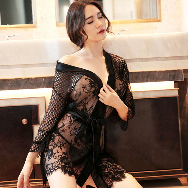 177eb984989b 2018 Summer New Sexy Sleepwear Cute Nightgown Pajama Black Belted Lace  Kimono Nightwear Women Intimate Full Slips -in Full Slips from Underwear    Sleepwears ...