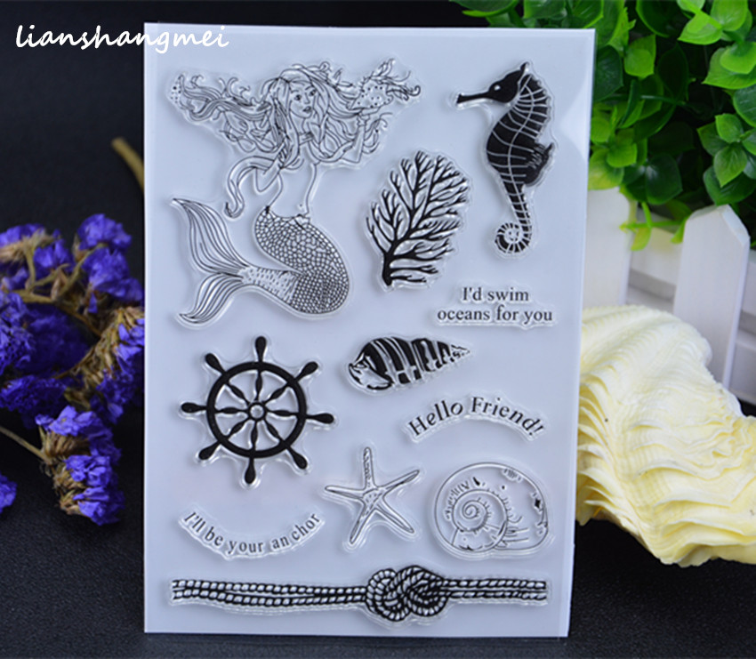 The Mermaid Transparent Clear Silicone Stamp/Seal for DIY scrapbooking/photo album Decorative clear stamp sheets lovely elements transparent clear silicone stamp seal for diy scrapbooking photo album decorative clear stamp sheets