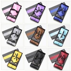 2019 kravata souprava kravata hanky manžetové knoflíčky soid color barva pánské kravaty sady dárková krabička kapesníky kapesní čtvercová věž cravat