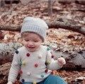 Outono crianças camisola bolas coloridas cardigans de malha de moda da criança do bebê meninos camisola de algodão + lã meninas do bebê camisola
