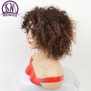 Image 3 - MSIWIGS Afro Medium Wigs for Women Ombre Brown Color Hair Synthetic Wig with Highlight